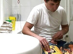 Handsome gay dude caught jerking off in the toilet