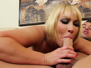 Blond female Mellanie Monroe likes to swallow hard and really deep