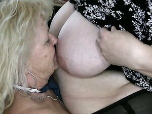 Huge saggy tits getting fondled with extra care by ugly granny