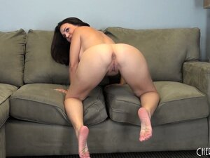 Holly does some posing, showing her ass and riding on her dildo
