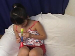 Cute little Asian girl gets toyed and then gives a POV blowjob