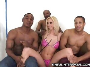 Blonde Kelly Interracial Gang Bang