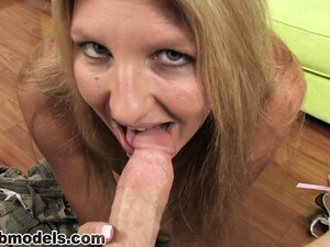 The hot blonde cougar uses her huge tits and lustful lips to drive that dick to climax