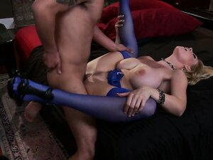 Belle is in purple stockings and gets banged so hard she has to hold her tits