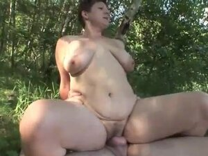 Old woman sex in the woods