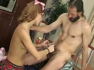 Skinny young coed gets piece of hairy old daddy