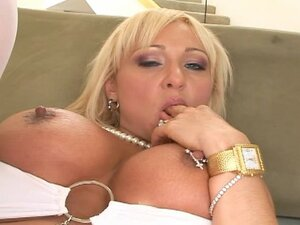 Blonde in white nylons butt-banged