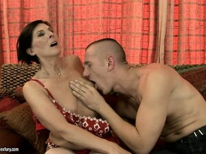 Old broad in stockings feasts on a younger man's hard schlong
