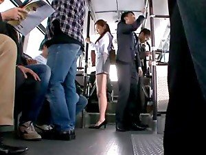 Asami Ogawa the shy office girl gets fingered in the bus