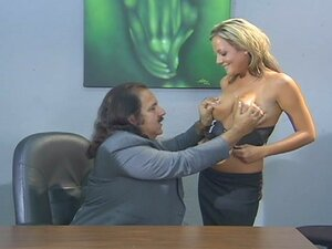 Ron jeremy fucks a sexy blonde in his office