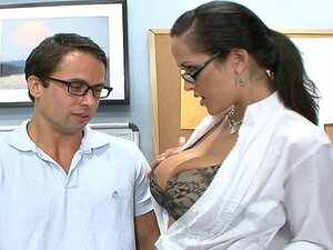 Watch busty brunette teacher flirting with this asshole