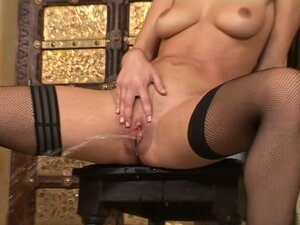 Sweet Zafira fingers her shaved pussy with a dildo