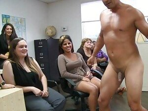 Office party with ballonsclothed females and naked males