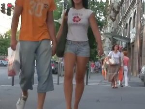 White black haired fit babe in a street candid xxx porno video