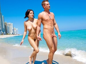 Couple goes on a naked date at the beach before going home to bang each other.