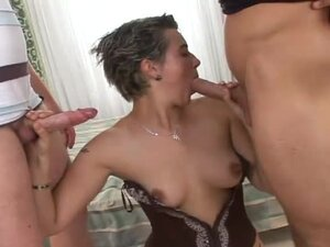 Short-haired chick has sex with three guys and gets cum on her tits