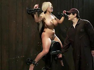 Sexy Blonde Gets An Orgasm In BDSM Film While Showing Her Big Tits