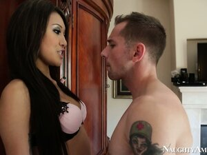 Asian hottie Jayden Lee chokes down his cock on her knees in the bedroom