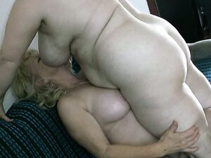 Morbidly obese aged hoochies having fun with strapon dildo