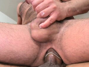 Bear with a big dick cums as his hairy ass takes a rough plowing