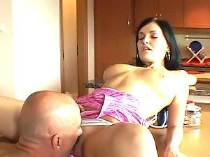 Gorgeous Lora Black gets seduced in the kitchen