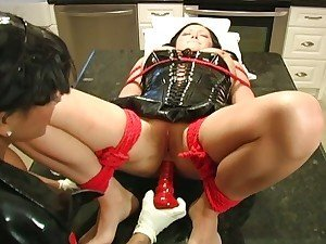 Mistress bounds slave and inserts pussy and anal toys mercylessly