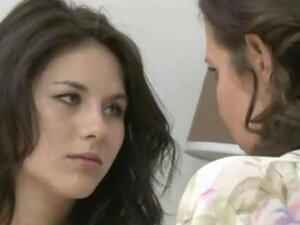 Teen brunette has lesbian sex with brunette MILF with big boobs and get fucked with a strapon