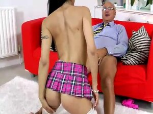 Young girl straddle fucks old guy