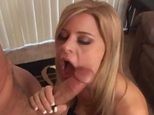 Peter North mouth-fucks Syvette and makes her swallow his cum