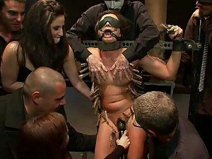Hardcore Brunette Gets Tortured By Many Guys