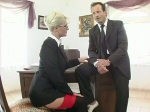 Kathy Anderson submits to her boss on top of her desk like a dirty slut
