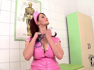 The busty nurse strips off her pink latex uniform, showing her pink pussy