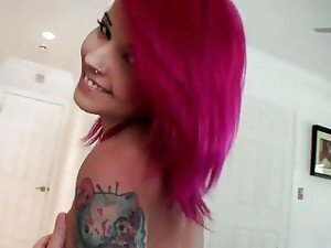 A pretty tattooed teen with pink hair has her awesome ass pumped full of cock