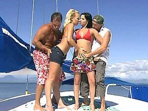 Bikini Babes Angelina Love and Renata Black Fucked In Foursome on Boat