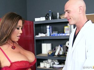 This wonderful brunette with huge tits needs the doctor's attention