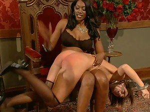 Dominating Ebony Spanking and Toying This White Girl's Hot Ass