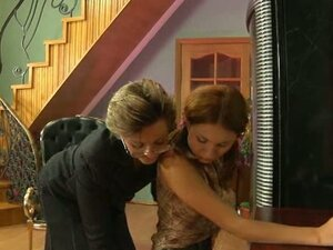 Sweet young pussy seduced by hot lesbian granny