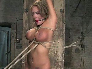 Busty Blonde Gets Tied Up and Toyed In BDSM Vid