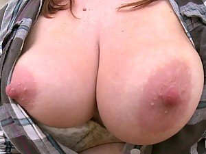 Busty redhead girl rides a cock and enjoys it very much
