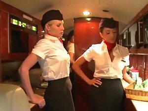 Two Incredibly Horny Flight Attendants Fuck a Passenger's Big Cock