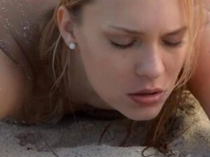 Exquisite sex on the beach in art movie with unbelievably pleasing blonde babe