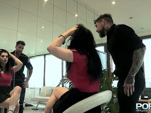 This brunette wants a hardcore rough fuck more than a new hairstyle