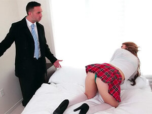 Schoolgirl and big cock meet for fucking