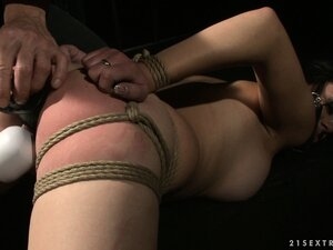 Babe in bondage takes her punishment like a good bitch should