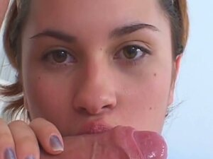 Young brunette gets a pussy creampie
