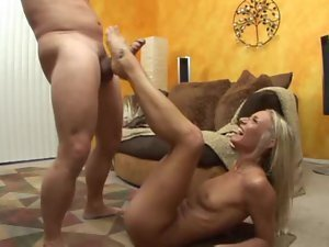 Amazing blonde gives BJ and footjob and fuck