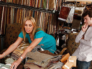 Tanya Tate is showing her son's friend some fabric samples for a chair he wants to get his girlfriend for her birthday. But he isn't as interested in checking out patterns and materials as he is in checking out Tanya's hot milf body. She initially rejects