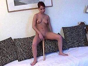 A chick with red hair that loves her alone time sits with her baseball bat deep in her drain