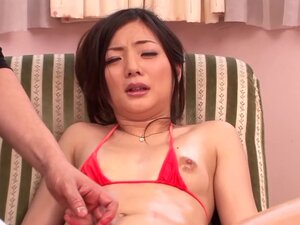 Hot biatch Rika in a mini bikini with sex toys