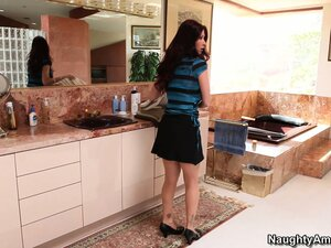 Busty brunette Tiffany Mynx waits in the kitchen for a cock to eat